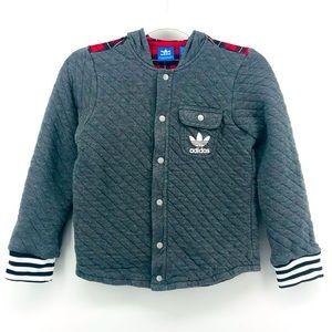 Adidas | Gray Red Plaid Quilted Sweatshirt Hoodie